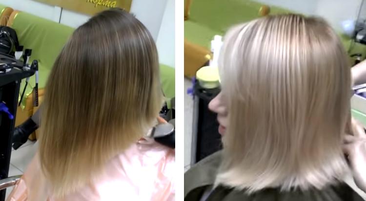 Отбеливание волос после мелирования