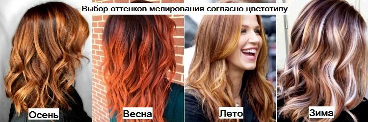 Выбор оттенков мелирования на рыжие волосы согласно цветотипу