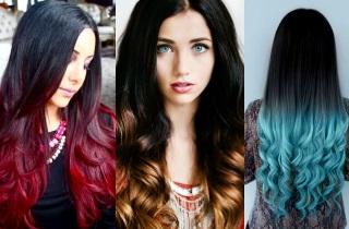 Как окрасить черные волосы в цветное омбре