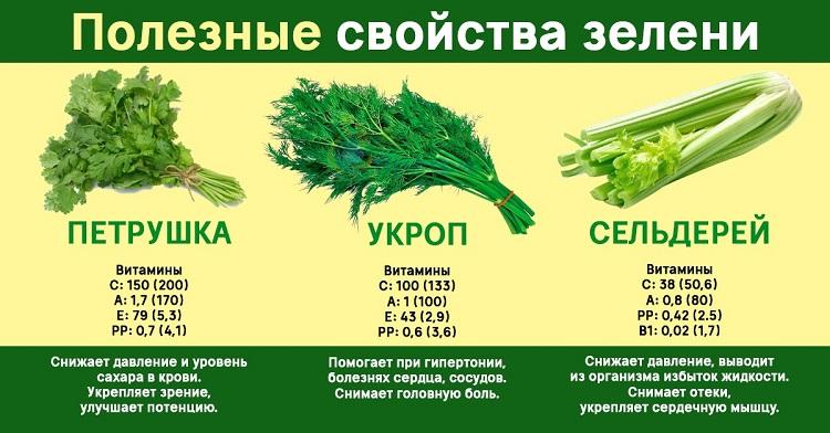 Полезные свойства зелени